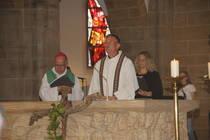 Bischof Marc Stenger, Dekan Axel Brecht, Pastorin Katharina Helbig.