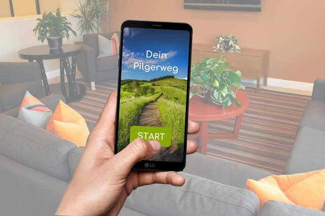 """Vorschau der App """"Mein Pilgerweg"""""""