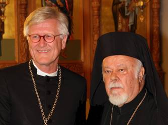 EKD-Ratsvorsitzender BEdford-Strohm und Metropolit Augoustinos, Foto: ELKB