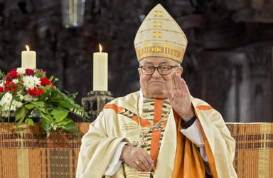 Karl Kardinal Lehmann im Gottesdienst anlässlich seines 80. Geburtstages am 16. Mai 2016 im Mainzer Dom, Foto: epd Bild