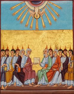 Bild: Pfingstwunder aus der Bamberger Apokalypse (um das Jahr 1000)